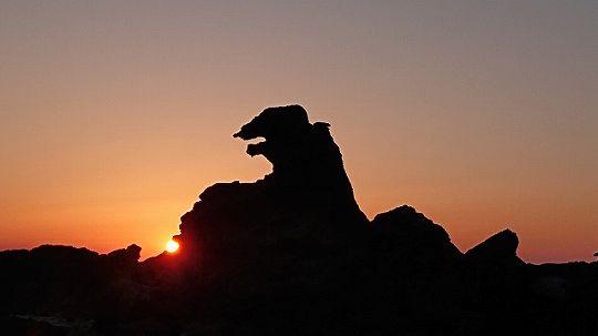 ゴジラと夕日